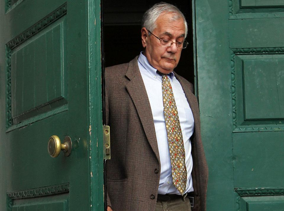 Barney Frank left Newton City Hall after announcing he will not seek reelection.