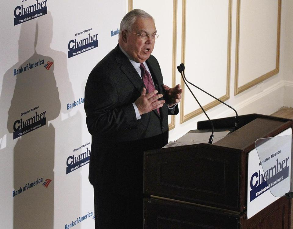 Mayor Thomas M. Menino spoke at the Boston Chamber of Commerce breakfast at the Fairmont Copley Plaza Hotel today.