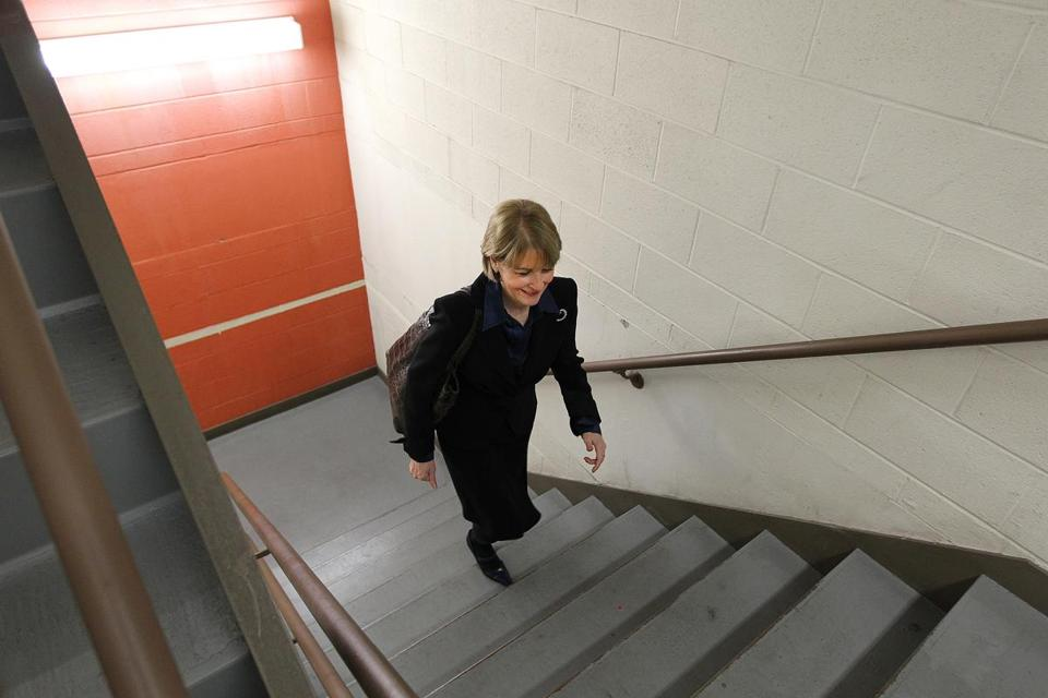 Attorney General Martha Coakley takes the stairs in her One Ashburton Place office building — no, not all the way to the 20th floor.