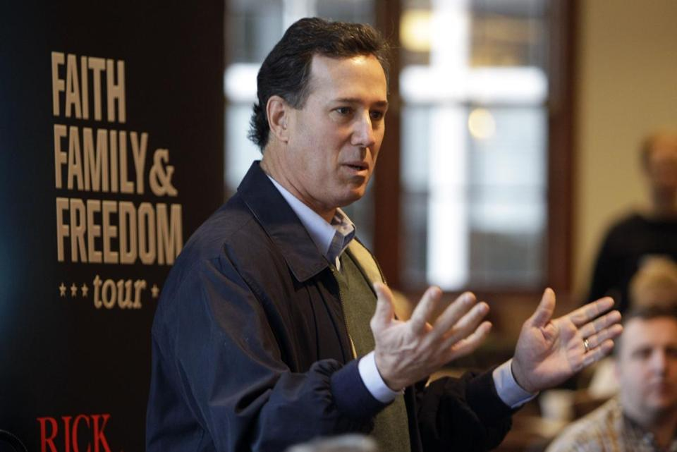 "Bob Vander Plaats, a former gubernatorial candidate and president of the Iowa Family Leader group, called Republican presidential hopeful Rick Santorum (above) a ""champion for the family.''"