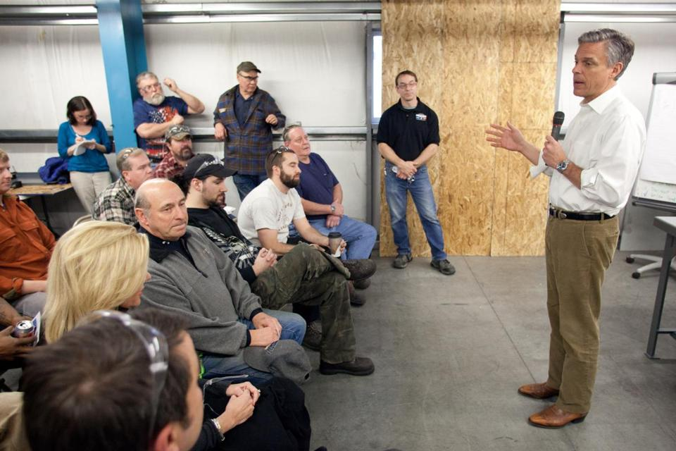 KEENE, NH - JANUARY 03: Republican presidential candidate, former Utah Governor Jon Huntsman Jr. (R) speaks to workers at Tidland Corporation on January 03, 2012 in Keene, New Hampshire. While the rest of the GOP candidates in Iowa, Huntsman chose to campaign in the first primary state of New Hampshire. Tidland manufactures equipment for slitting and winding materials like paper and plastic film. (Photo by Matthew Cavanaugh/Getty Images)