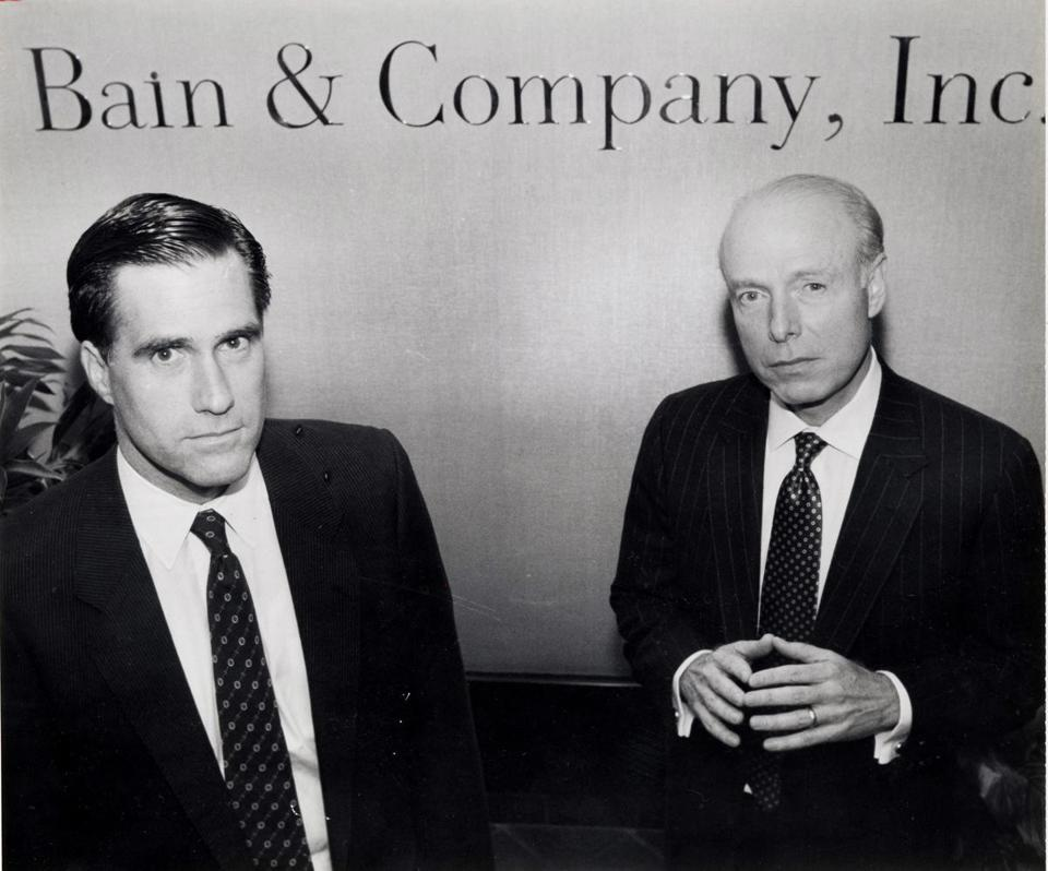 Mitt Romney (left) posed with William Bain Jr. at the firm's offices in Copley Plaza in 1990.