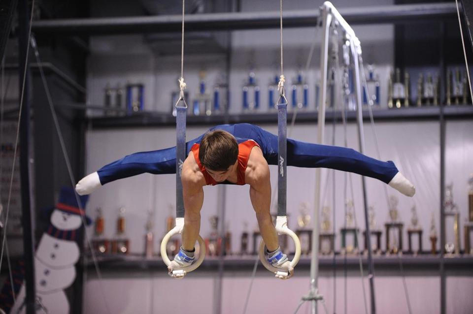 Brian Manning of Andover, one of seven schools fielding a boys' gymnastics team, performed a rings routine last year.