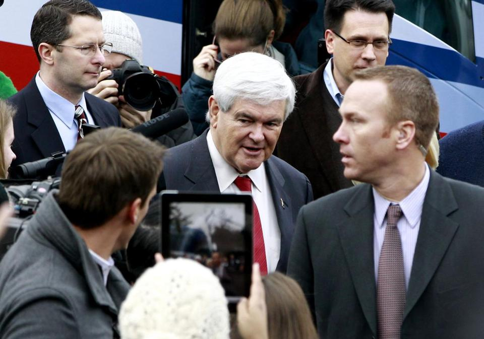 Newt Gingrich campaigned outside of a polling station today in Manchester, N.H.