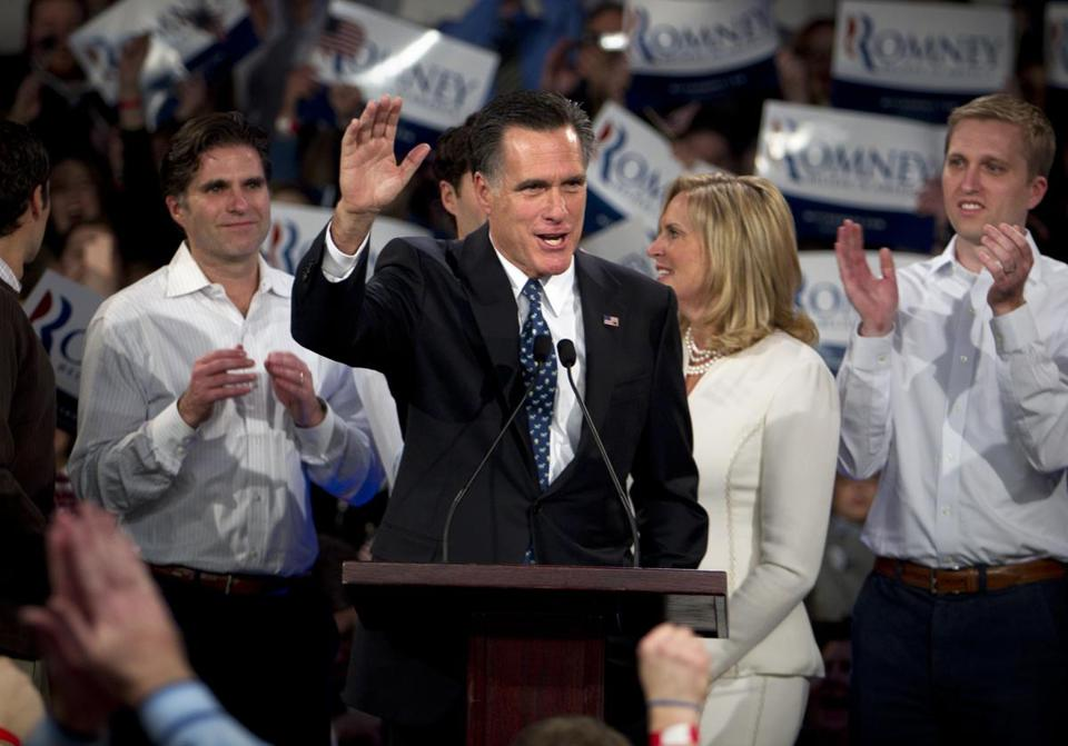 Republican presidential hopeful Mitt Romney addressed supporters in Manchester after winning the New Hampshire primary January 10.