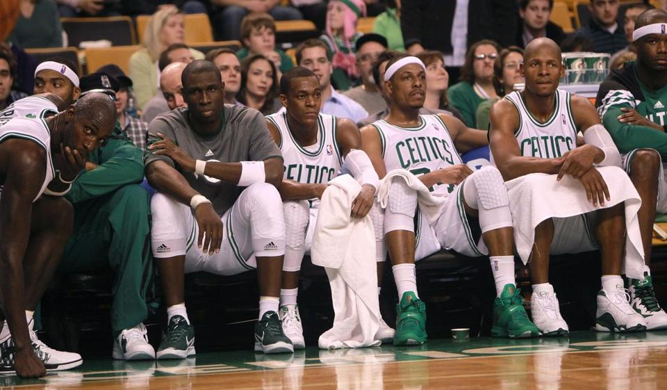 Boston, MA - 01/13/12 - (4th quarter} Long faces were the order of the day on the Boston Celtics bench as the Celtics suffered their third consecutive loss at home. The Boston Celtics took on the Chicago Bulls at TD Garden. - (Globe Staff Photo / Barry Chin), section: Sports, reporter: Washburn, slug: 14celtics, LOID: 5.0.750847069.