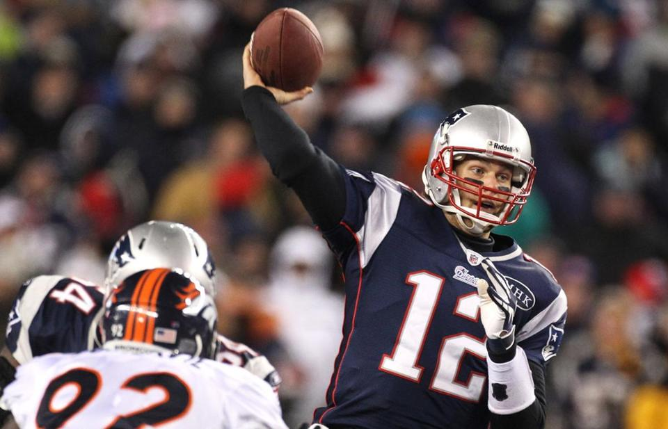 slider -- AFC PLAYOFF Patriots/Jets 01/14/2012 Patriots QB Tom Brady throws a pass in the 1st quarter. The New England Patriots play the Denver Broncos in the 2012 AFC Divisional Playoff Game at Gillette Stadium, in Foxborough, MA, Sunday, January 16, 2011. (Jim Davis/Globe Staff Photo)