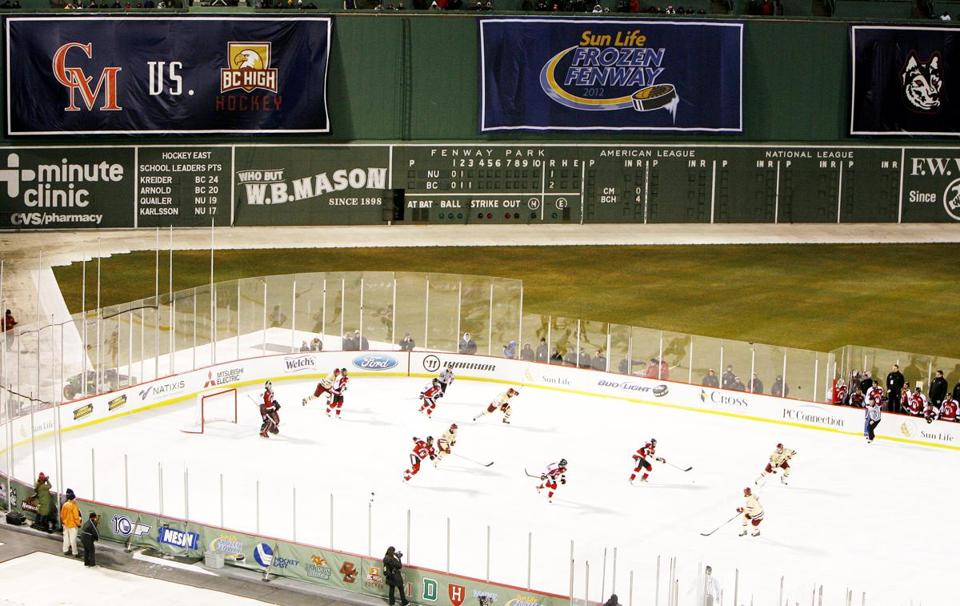 Fenway Park will be the site of four Division 1 college hockey games and two days of free public skating next year.