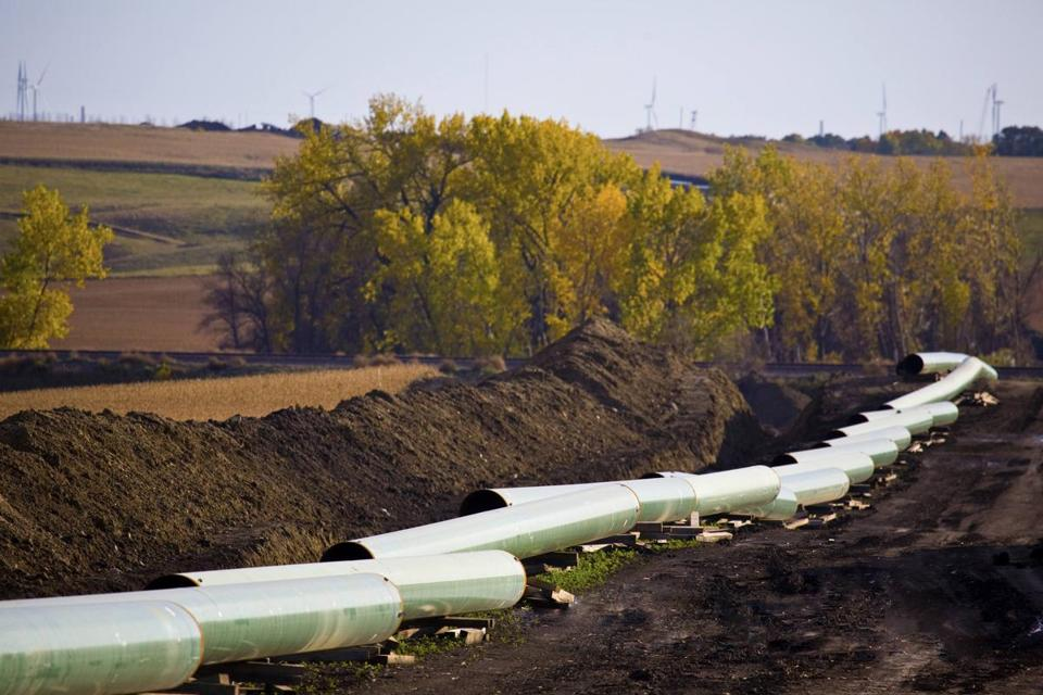 The Keystone Oil Pipeline was pictured under construction in North Dakota in this undated photograph.