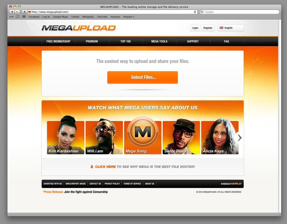 This undated image shows the homepage of the website Megaupload.com. Federal prosecutors in Virginia have shut down one of the file-sharing site and charged its founder and others with violating piracy laws.