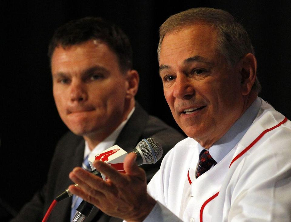 Red Sox general manager Ben Cherington (left) and manager Bobby Valentine know that games aren't won or lost in January and February.