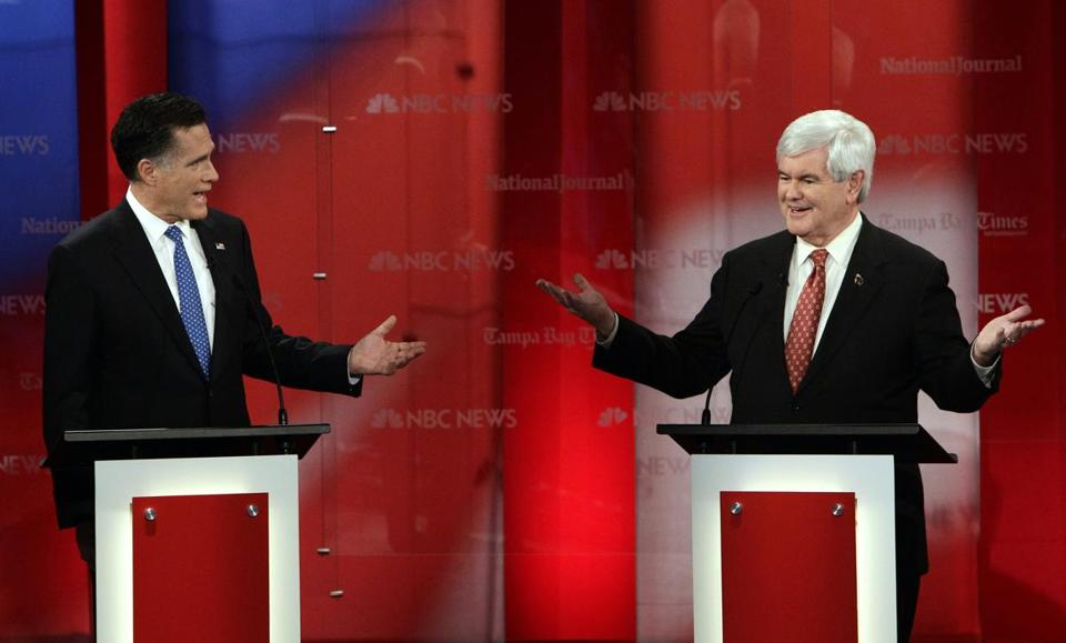 Mitt Romney and Newt Gingrich traded barbs in the first Florida Republican debate.