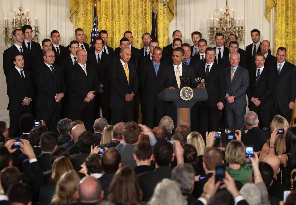 Bruins goaltender Tim Thomas skipped the White House celebration of the team's Stanley Cup title yesterday.