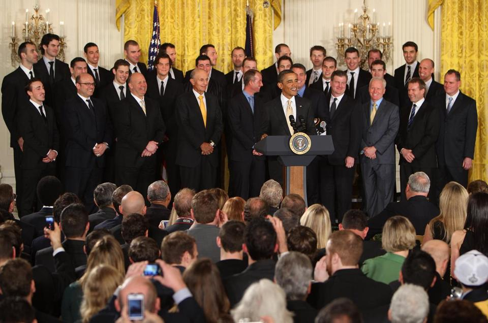 President Obama, who was presented with jersey No. 11 by the Bruins, honored the Stanley Cup champions in the East Room of the White House yesterday.