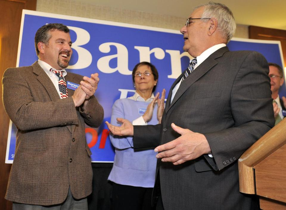 Barney Frank and his partner, Jim Ready, shown in Newton on election night 2010, are planning to get married.