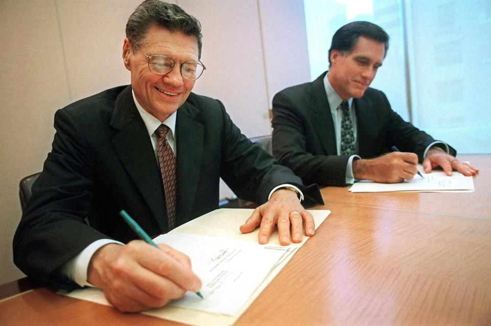Bain Capital, led by Mitt Romney, bought Domino's for $1.1 billion, investing $385 million in cash and borrowing the rest. Thomas Monaghan (on left) founded the company in 1960.