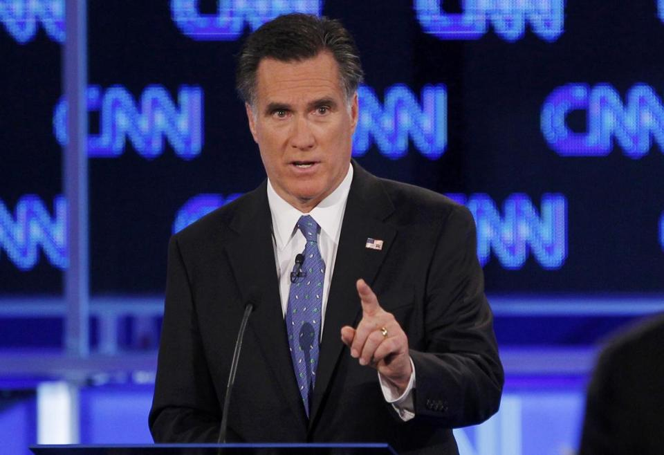 Republican presidential candidate former Massachusetts Governor Mitt Romney makes a point during the Republican presidential candidates debate in Jacksonville, Florida, January 26, 2012. REUTERS/Scott Audette (UNITED STATES - Tags: POLITICS ELECTIONS)