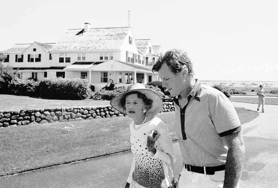 The late Senator Edward M. Kennedy and his late mother, Rose, walking by the house in 1979.