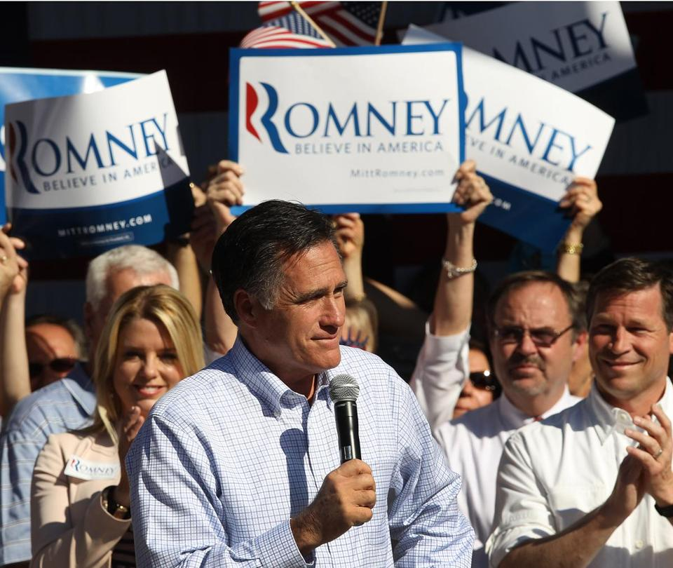 DUNEDIN , FL. 01/ 30/ 2012: Mitt Romney. on the trail in Florida at a rally.( David L Ryan / Globe Staff Photo ) SECTION: NATIONAL TOPIC : REPORTER