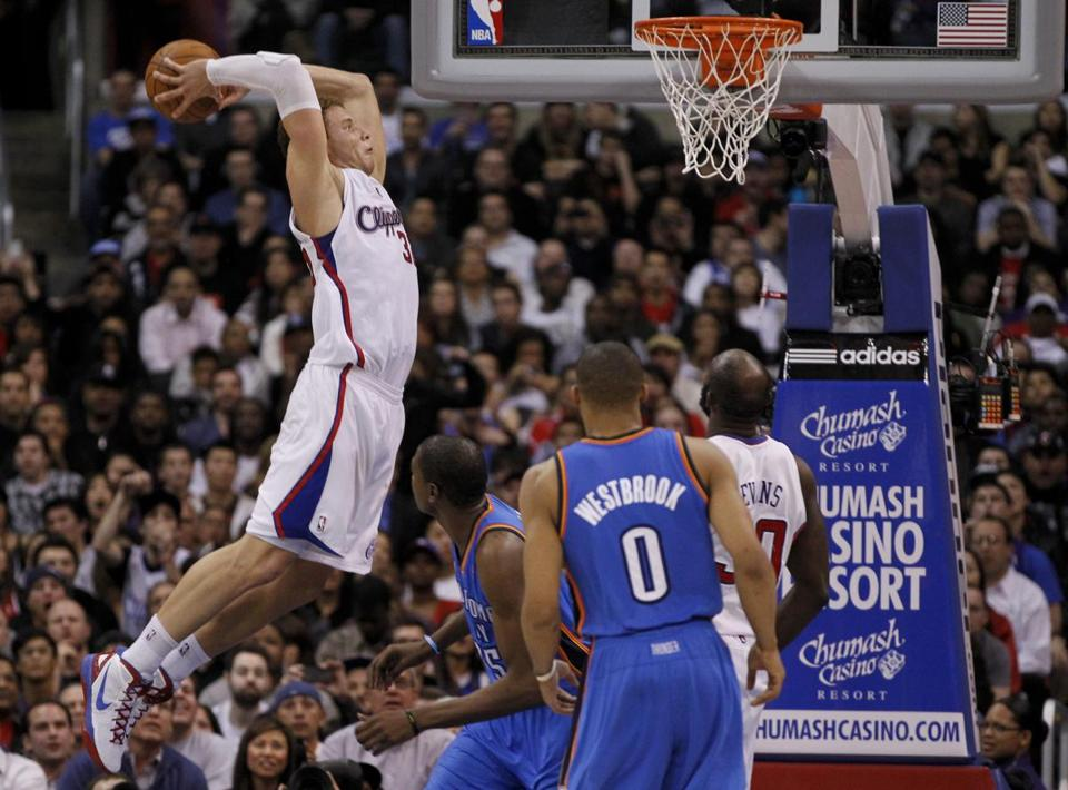 Clippers forward Blake Griffin slammed home this dunk against the Oklahoma City last night.