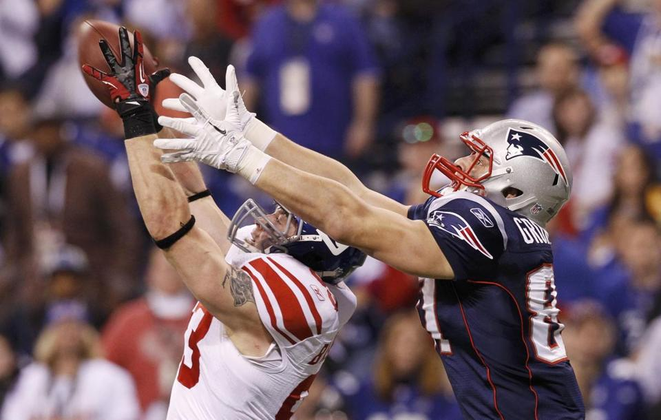 Rob Gronkowski couldn't prevent this interception by Giants linebacker Chase Blackburn in the second half.
