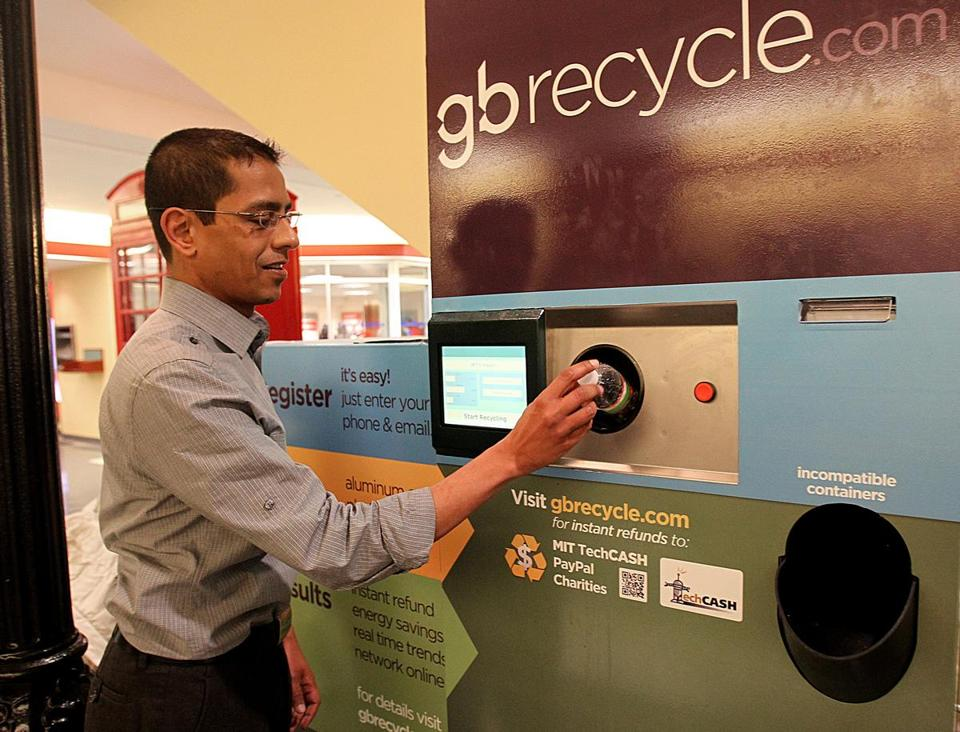 Greenbean Recycle, a Cambridge start-up that operates high tech recycling machines, brings its users together on a Facebook page.