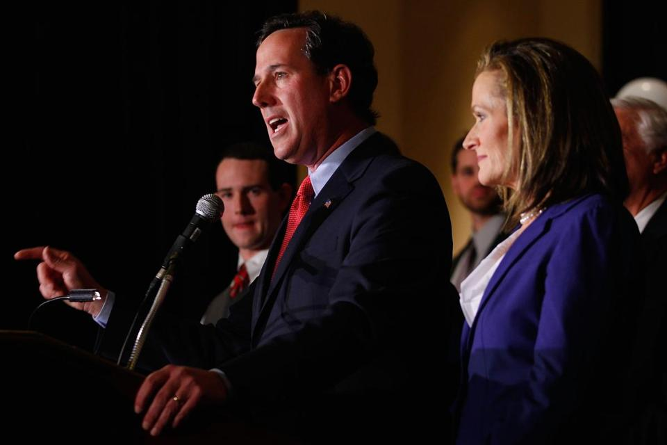 Republican presidential candidate Rick Santorum spoke in St. Charles, Mo., after winning in Missouri and Minnesota. He later won the Colorado caucus.
