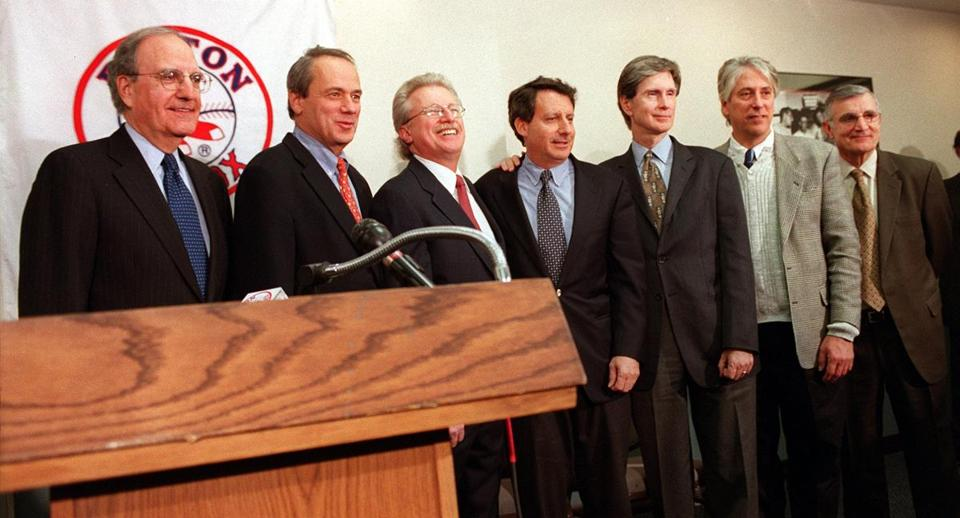 The group that submitted the winning bid for the Red Sox at Fenway Park last night; from left: George Mitchell, Larry Lucchino, Bernard Cammarata, Tom Werner, John Henry, Les Otten, and Ed Eskandarian.