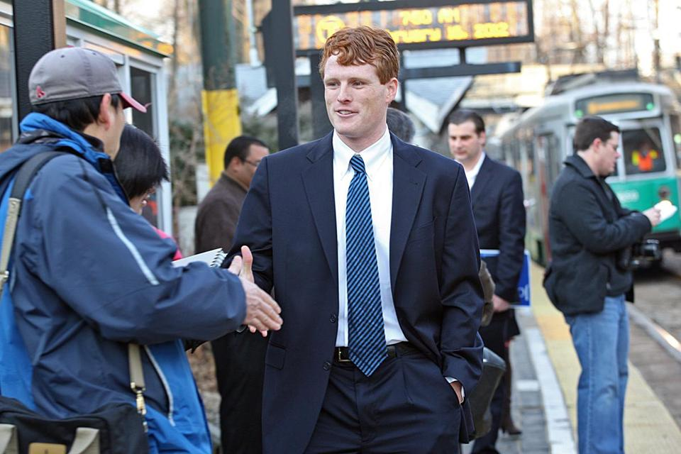Newton, MA. 02/16/12, Joe Kennedy III officially launches his campaign for Congress Thursday, by visiting spots around the district. He greets commuters and supporters in Newton. Section: Metro Suzanne Kreiter/Globe staffNewton, MA. 02/16/12, Joe Kennedy III officially launches his campaign for Congress Thursday, by visiting spots around the district. He greets commuters and supporters in Newton. Section: Metro Suzanne Kreiter/Globe staff