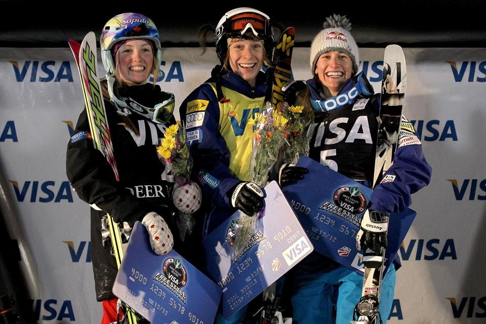 Hannah Kearney, center, has visited the podium often this winter.