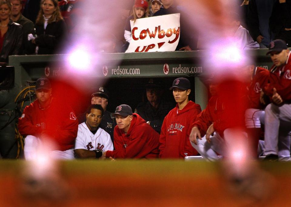 A dejected Red Sox dugout watched Kevin Millar bat against Mariano Rivera in the ninth inning.