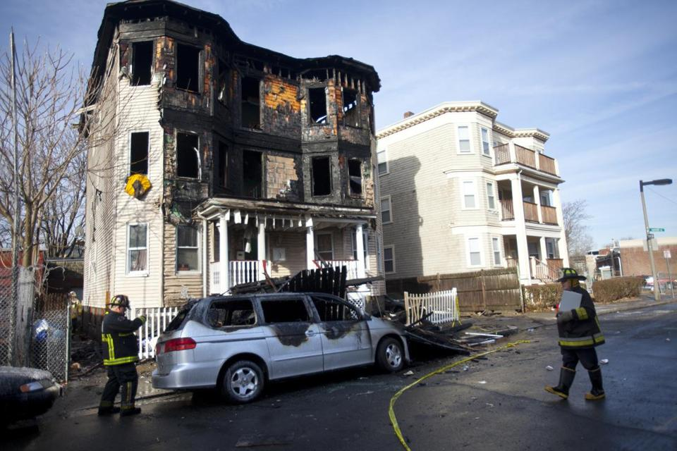 A three-alarm fire at 28 Harvard Ave. in Dorchester struck at 5:43 a.m. on Monday.