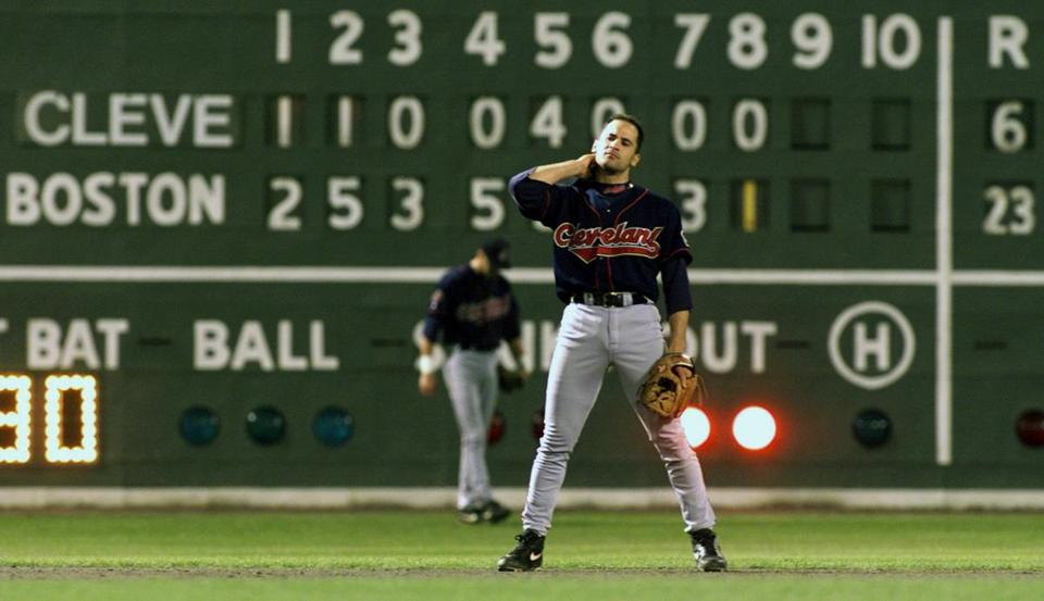 Twenty-three Red Sox runs hung on the Fenway Park scoreboard behind Indians shortstop Omar Vizquel.