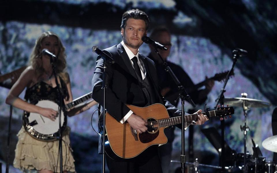 Blake Shelton (above, performing during the 54th annual Grammy Awards) performed a 90-minute show Thursday at the DCU Center.