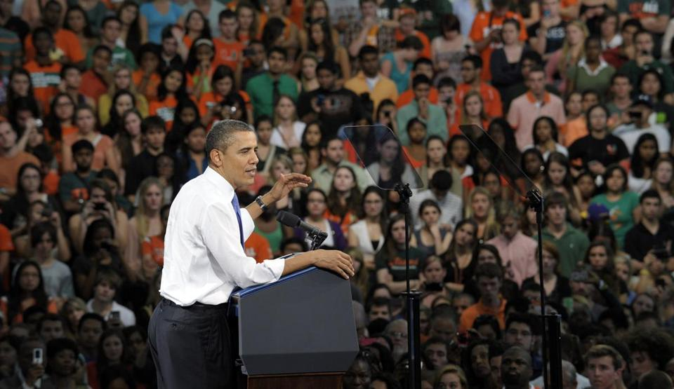 President Barack Obama spoke today at the University of Miami Field House in Coral Gables, Fla.