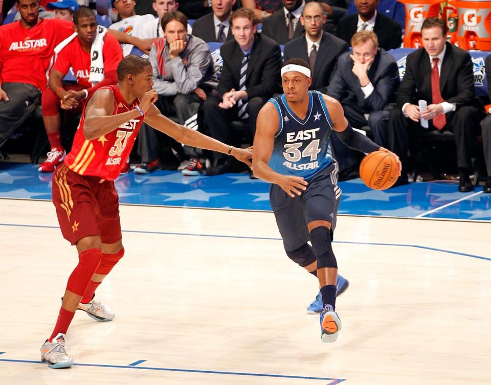Paul Pierce, who played only 11 minutes in his 10th All-Star Game, moves on Kevin Durant, the game's eventual MVP.