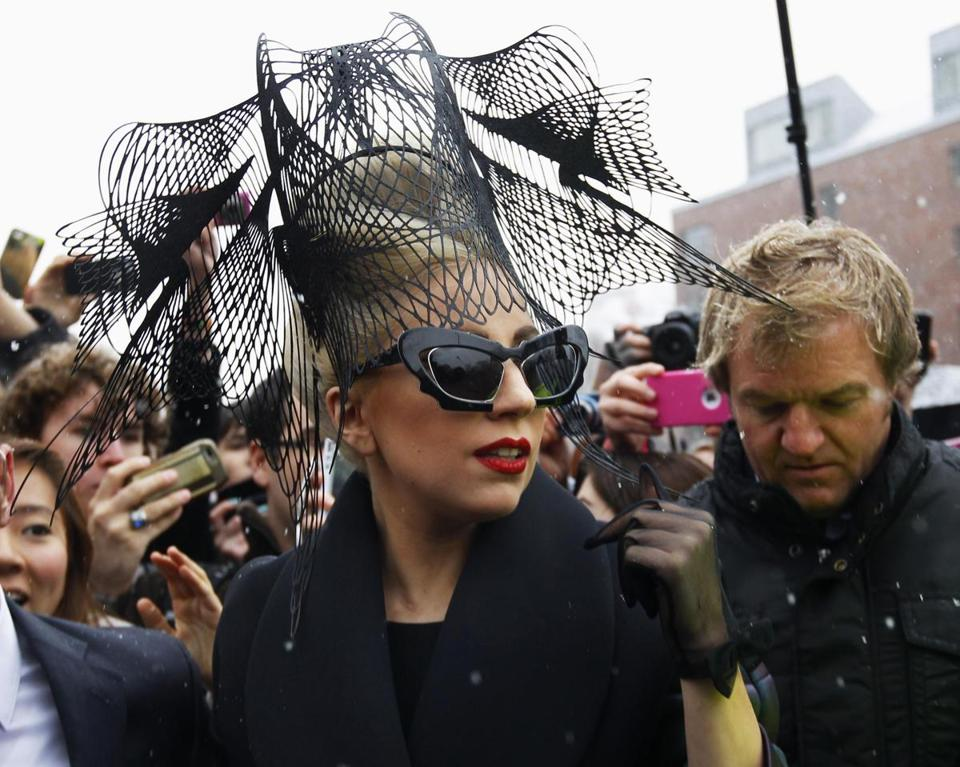 Lady Gaga arrives at Harvard University to launch her Born This Way Foundation.