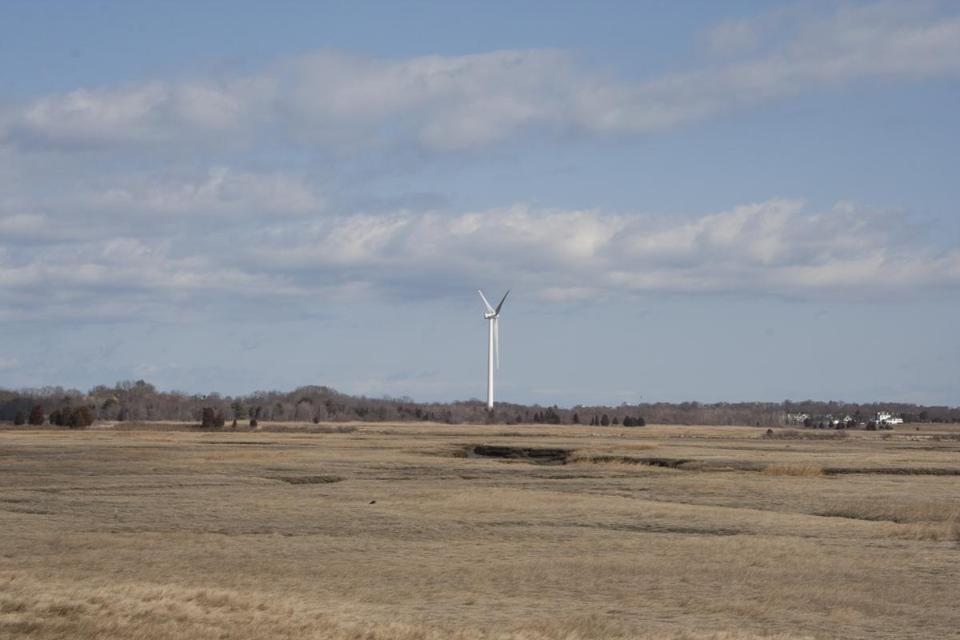 The Scituate wind turbine was erected in February.
