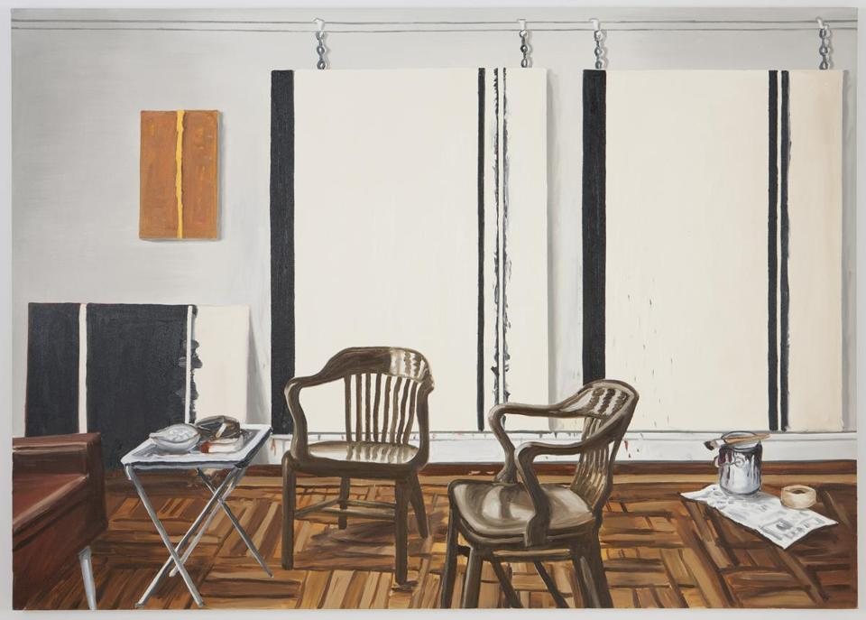 "Richard Bosman's ""Barnett Newman's Studio"" is on display at Carroll and Sons."