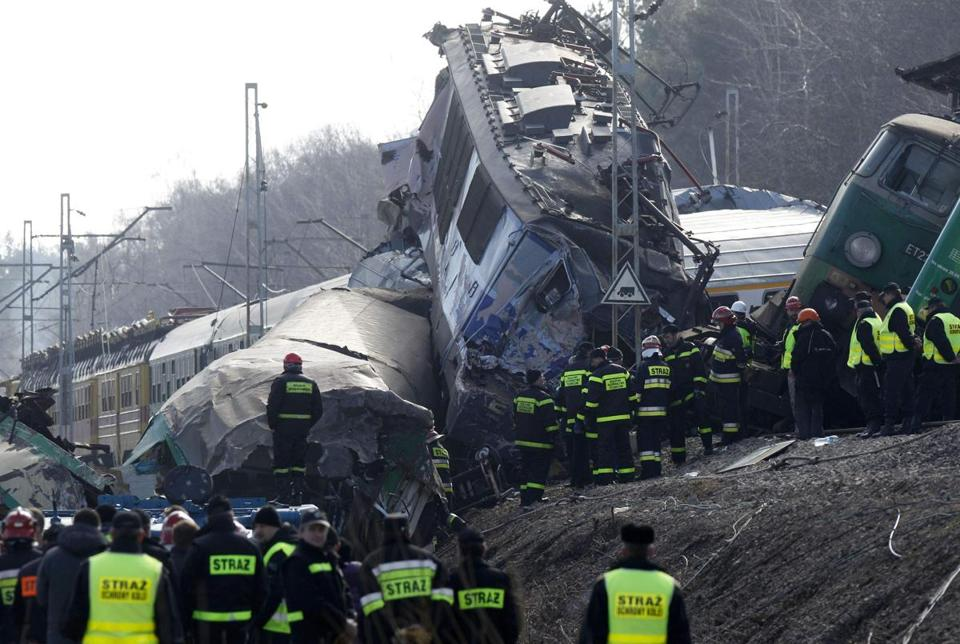 Polish emergency services worked at the site of a train crash near the town of Szczekociny today.