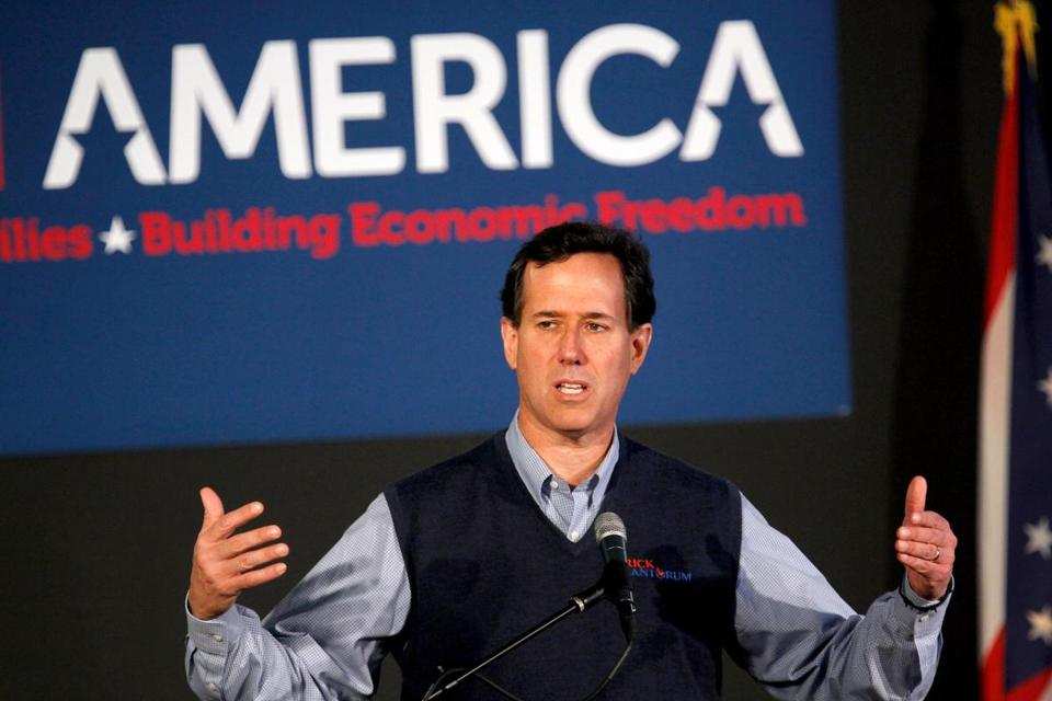 Rick Santorum spoke during a campaign rally at the Dayton Christian School Monday in Miamisburg, Ohio.