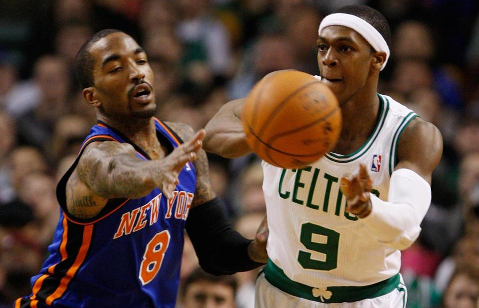Rajon Rondo got up for the Celtics' 115-111 overtime win over New York Sunday, finishing with 18 points, 17 rebounds, and 20 assists.