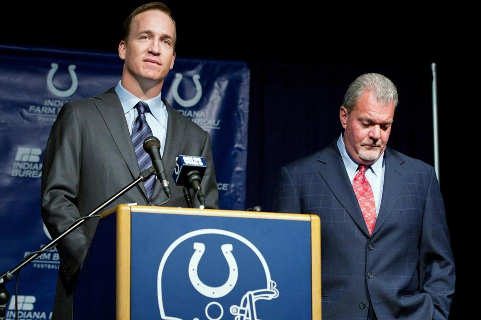 Peyton Manning spoke as Indianapolis Colts owner Jim Irsay listened during a press conference Wednesday announcing that the Colts will release Manning.