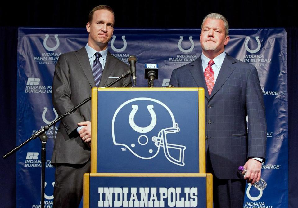 Peyton Manning and Colts owner Jim Irsay at the press conference announcing that the Colts would release the quarterback.