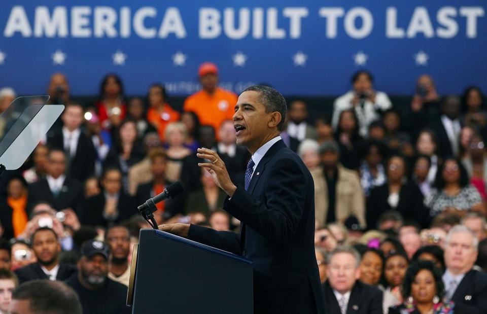 President Obama spoke after touring the Rolls-Royce Crosspointe plant in Prince George County, Va., on Friday.