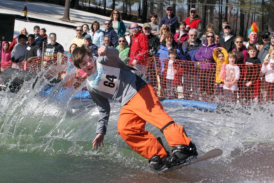 Cam Shoemaker competed in the March Meltdown Pond Skim at Nashoba Valley in Westford as the ski area closed on Sunday.