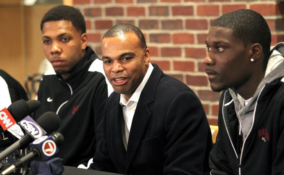 Harvard head coach Tommy Amaker, center, and his Harvard Crimson team will play in the second round of the NCAA Tournament on Thursday.