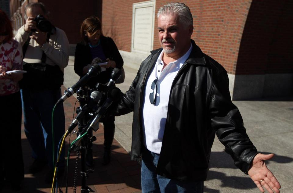"Steve Davis spoke outside the Moakley Courthouse today after prosecutors revealed that Catherine Greig has agreed to a plea deal. Greig's boyfriend, James ""Whitey"" Bulger, is accused of a string of murders, allegedly including that of Davis's sister, Debra, in 1981."