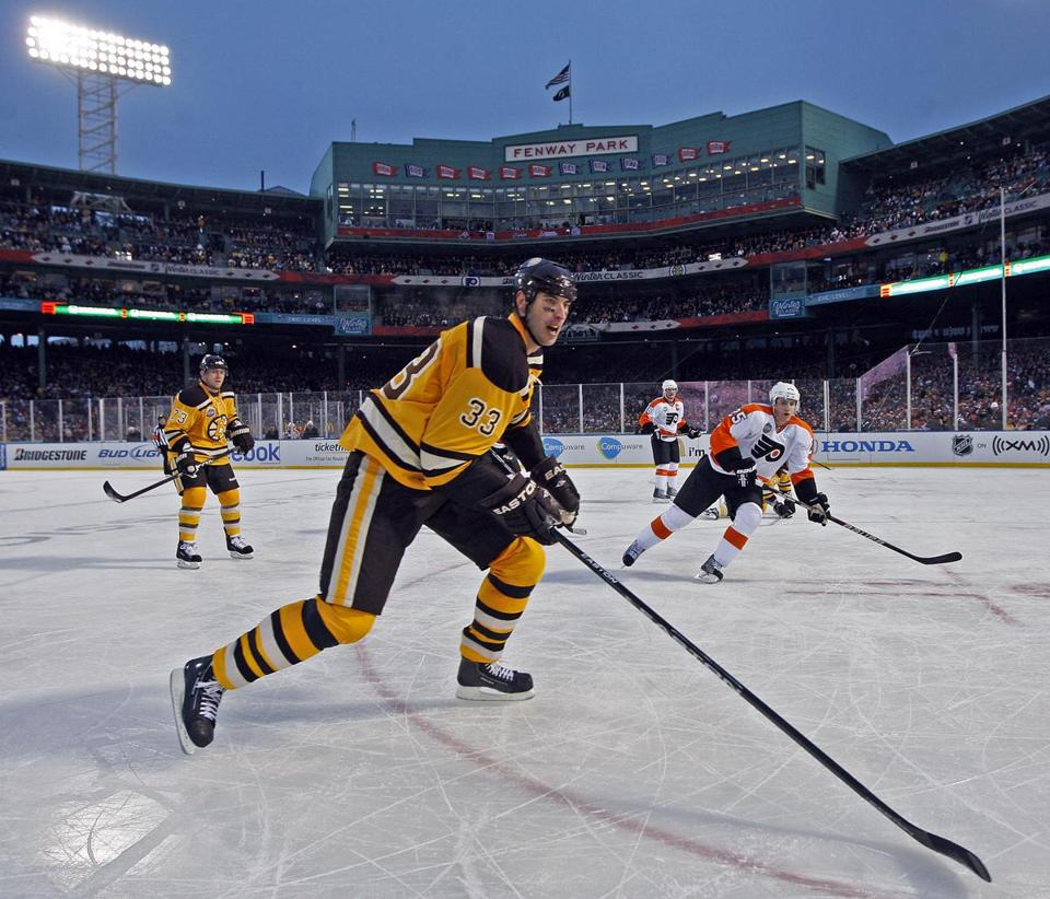 The Bruins played the Flyers in the NHL's Winter Classic on Jan. 1, 2010, at Fenway Park.