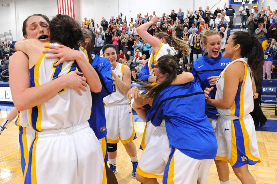 Bentley women celebrated after winning on Monday night.